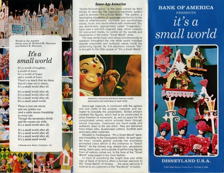 Disneyland's 'It's a Small World' vintage brochure