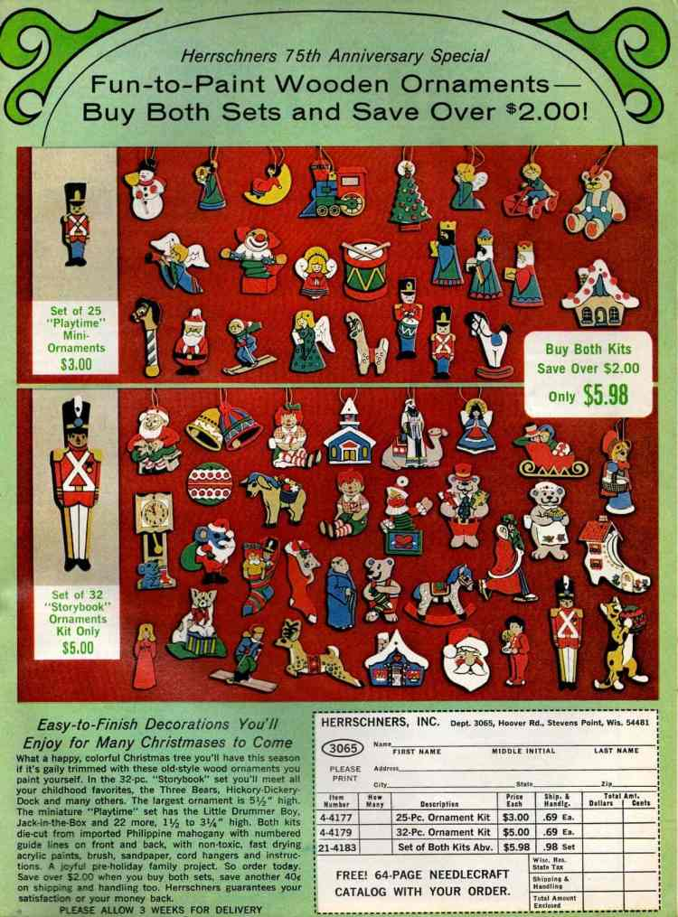 Little Christmas ornament sets from 1974 (2)