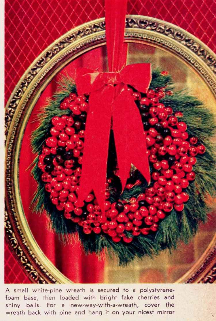 Make vintage-style handmade Christmas wreaths with this craft how-to from 1964 (3)