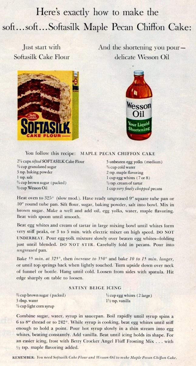 Maple-pecan chiffon cake recipe - 1956 classic dessert (1)