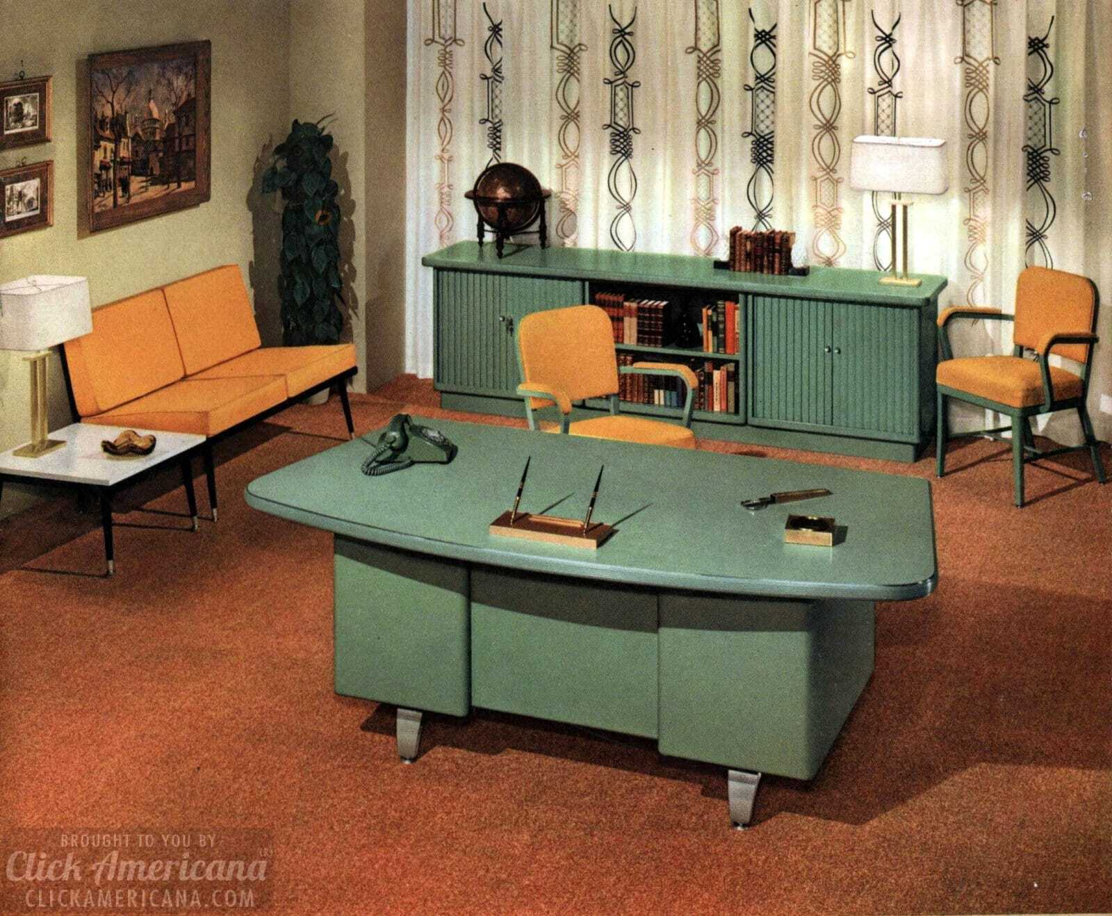 The Way Offices Used To Look: Vintage Office Furniture And Sleek  Mid Century Modern Desks From 1959