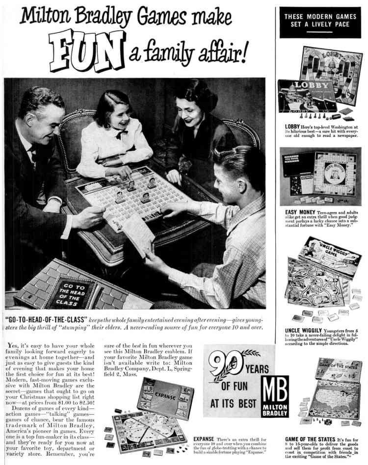 Milton Bradley family board games - Vintage fun from Dec 4, 1950