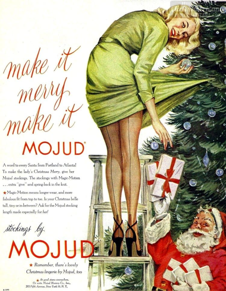 Naughty Santa and stockings - ad from 1950s