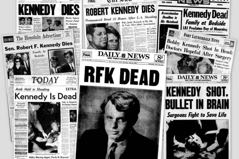 Newspaper headlines from Senator Bobby Kennedy's assassination (1968)