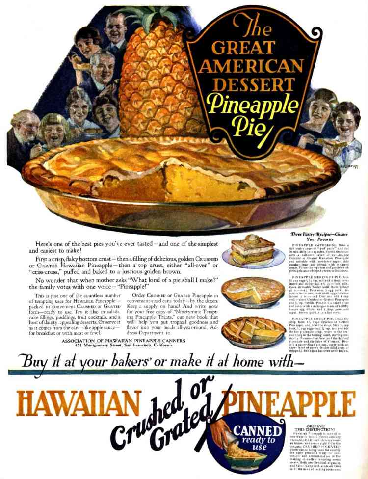 Pineapple pie recipe 1922