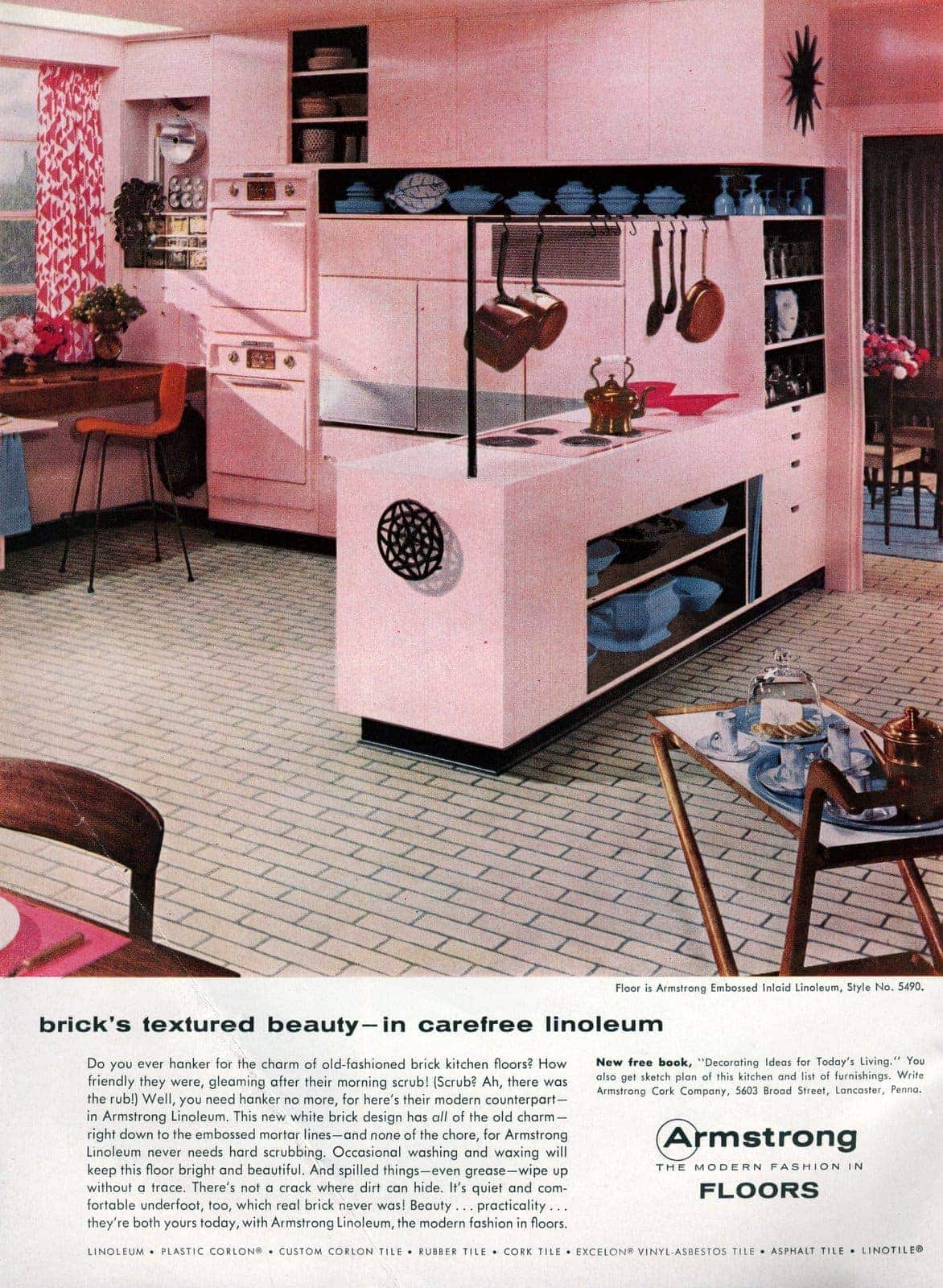 A White Brick Linoleum Floor For Your Pink Kitchen Why Not It Was - Retro-kitchen-design-you-never-seen-before