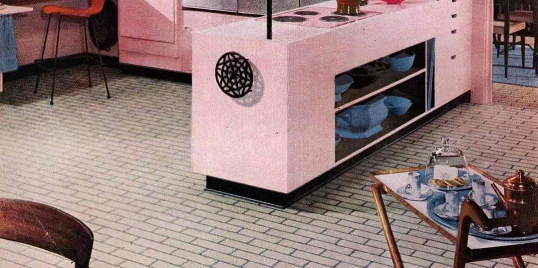 Pink kitchen with retro brick linoleum from 1956