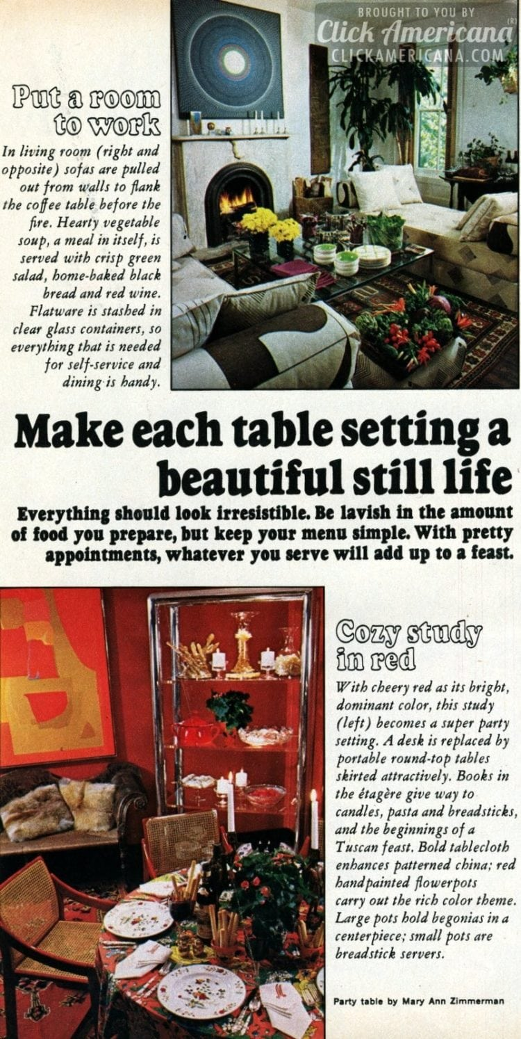 Festive decor & tablesettings: How to present a perfect holiday table with retro style (1967)