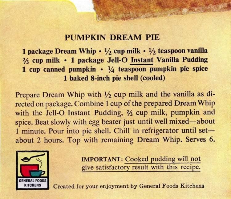 Pumpkin dream pie recipe card