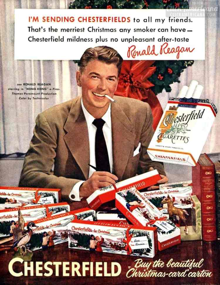 Ronald Reagan for Chesterfield cigarettes - Christmas 1951