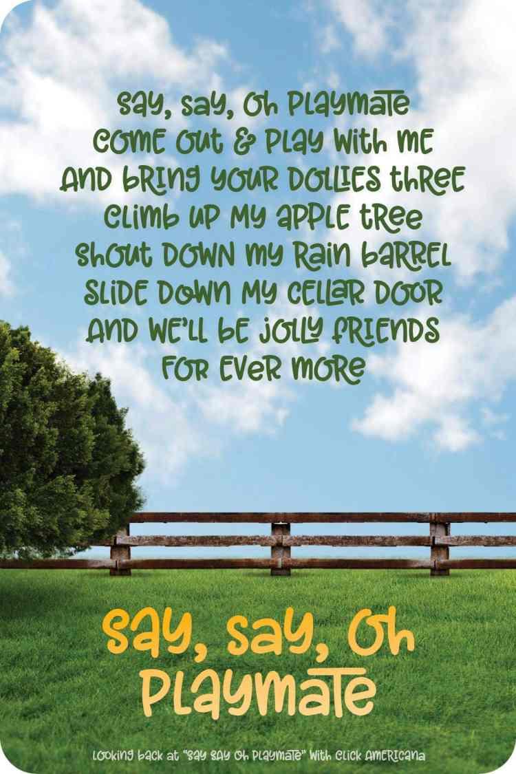 Say Say Oh Playmate - song and rhyme- Click Americana