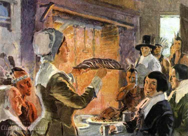 Scene imagining the First Thanksgiving - woman bringing bread to the table - from 1920s