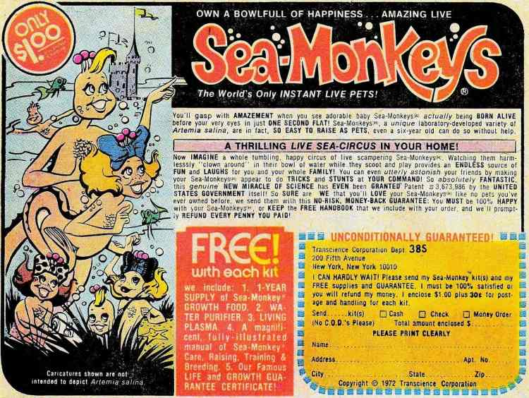 Sea Monkeys ad from 1972