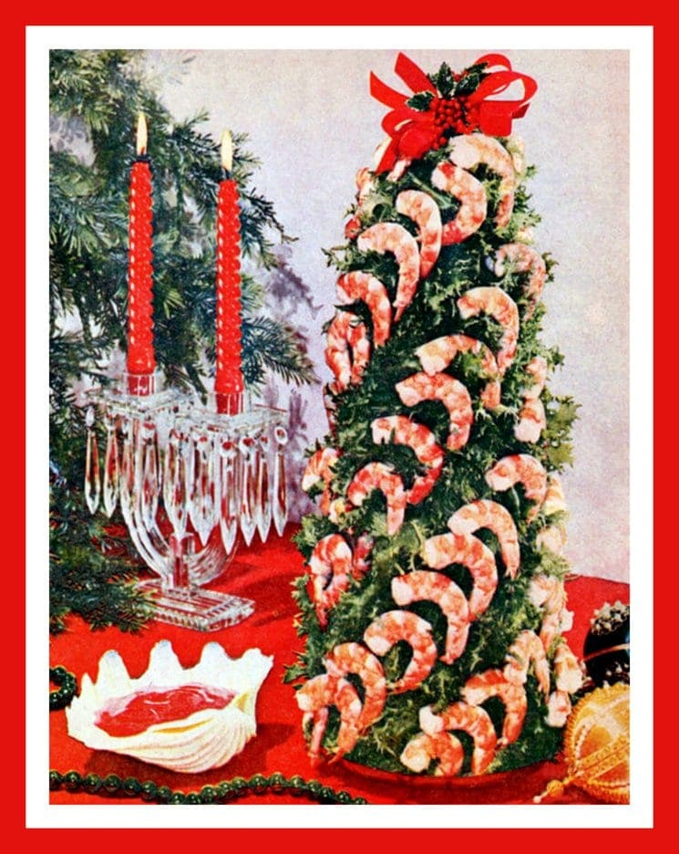 Shrimp Christmas tree appetizer recipe - 1970s