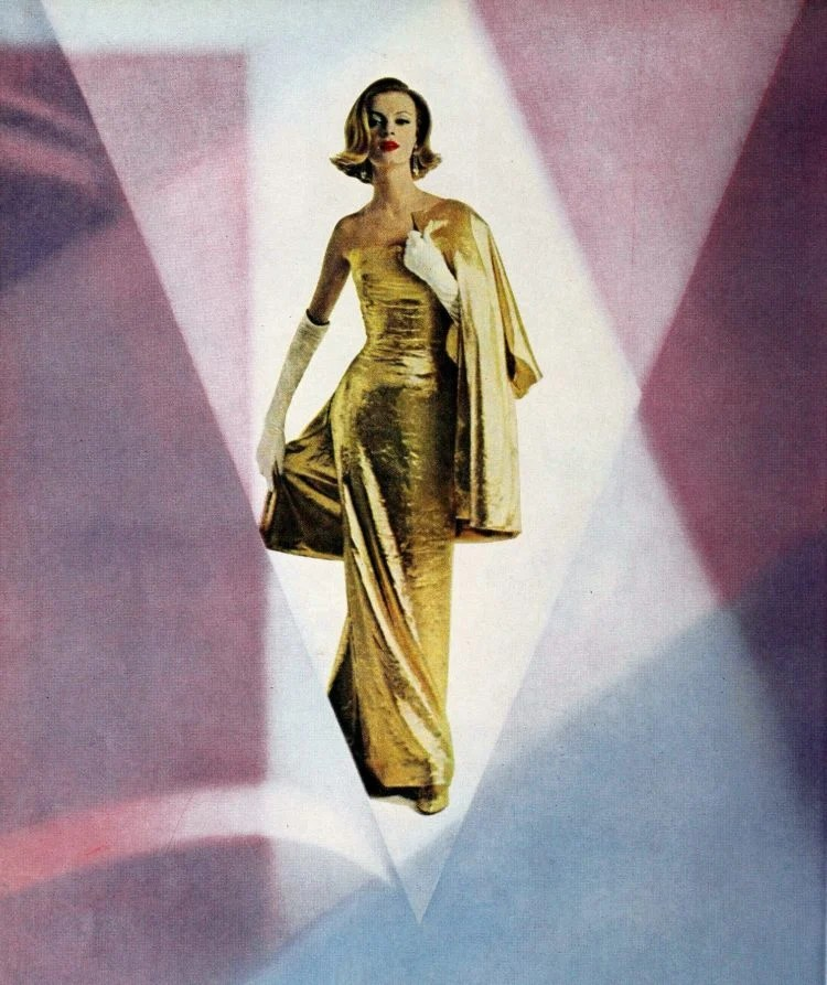 Slim gold evening dress from 1962