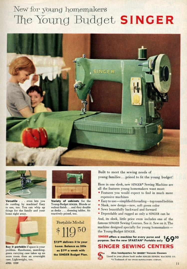 Singer Sewing Machine Models And Prices : singer, sewing, machine, models, prices, Vintage, Singer, Sewing, Machines, '50s:, They're, Classic, Click, Americana