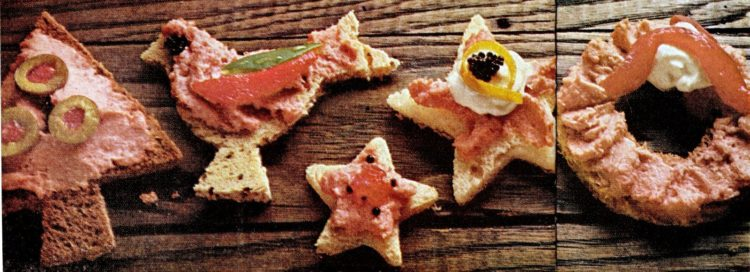 Spam spread on bread for retro Christmas appetizers from 1966