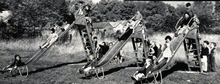 Steel playground equipment from 1950 at Click Americana (2)