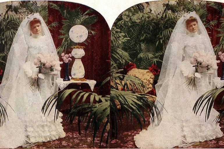 Stereograph - Bride on her wedding day