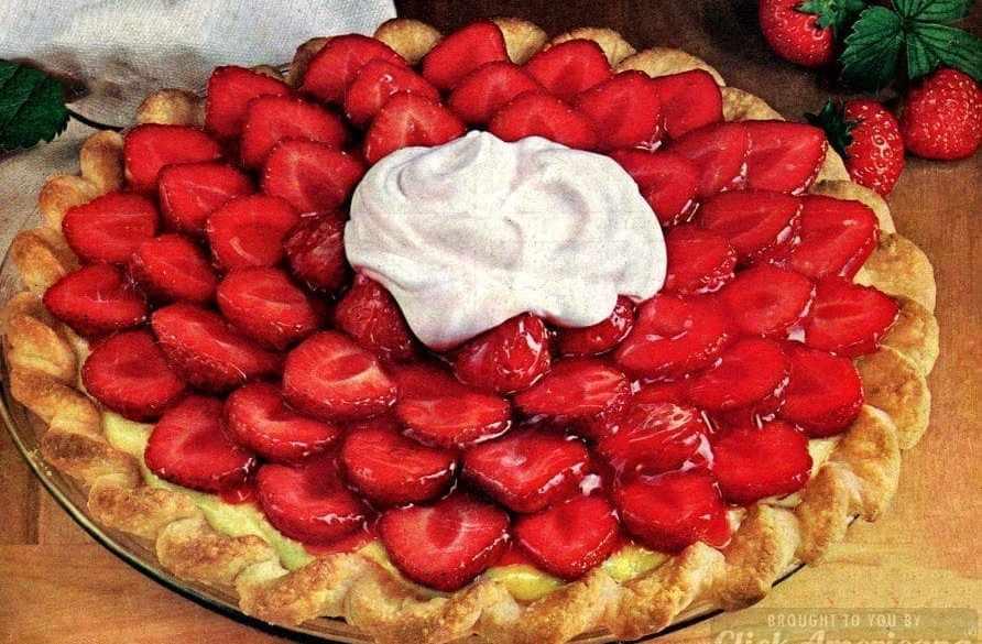 Strawberry satin pie recipe (1964)