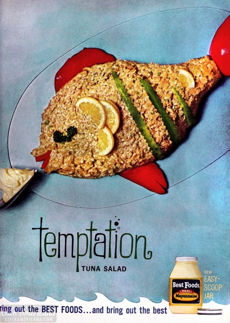 Temptation tuna salad - Retro food shaped like a fish from 1963