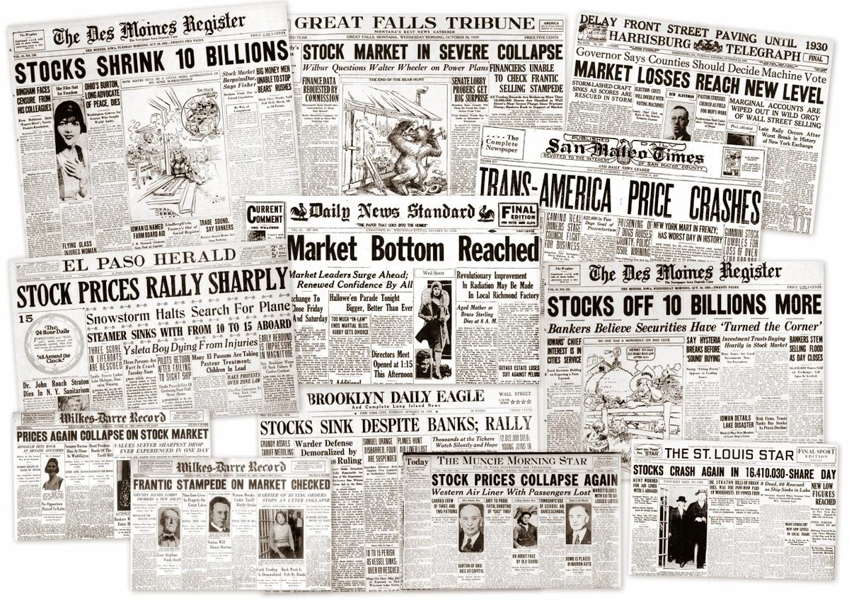The Great Depression Newspaper Headlines From The Stock