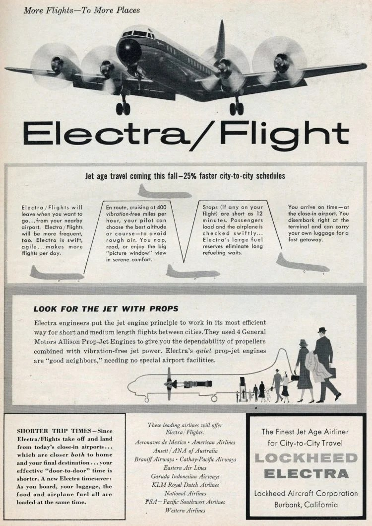 The Lockheed Electra makes her debut - a leap forward in airline technology (1958)