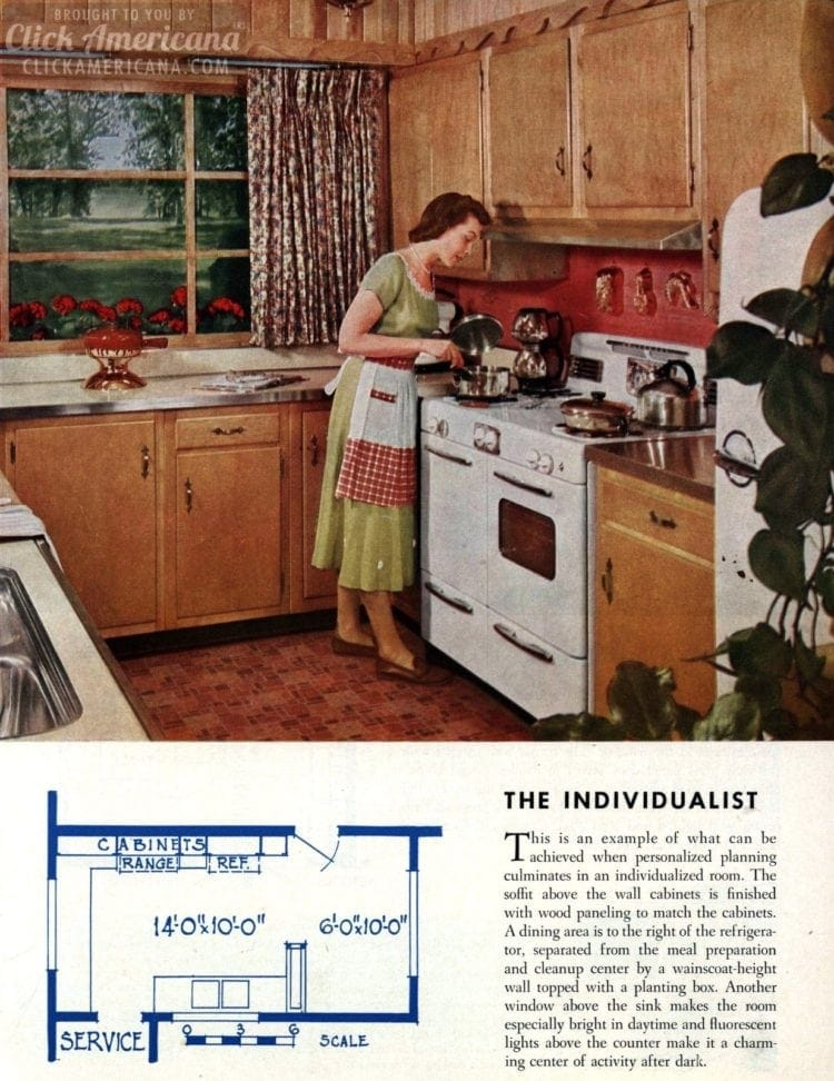 9 Colorful Mid Century Kitchen Remodels Retro Floorplans From 1954 - Retro-kitchen-design-you-never-seen-before
