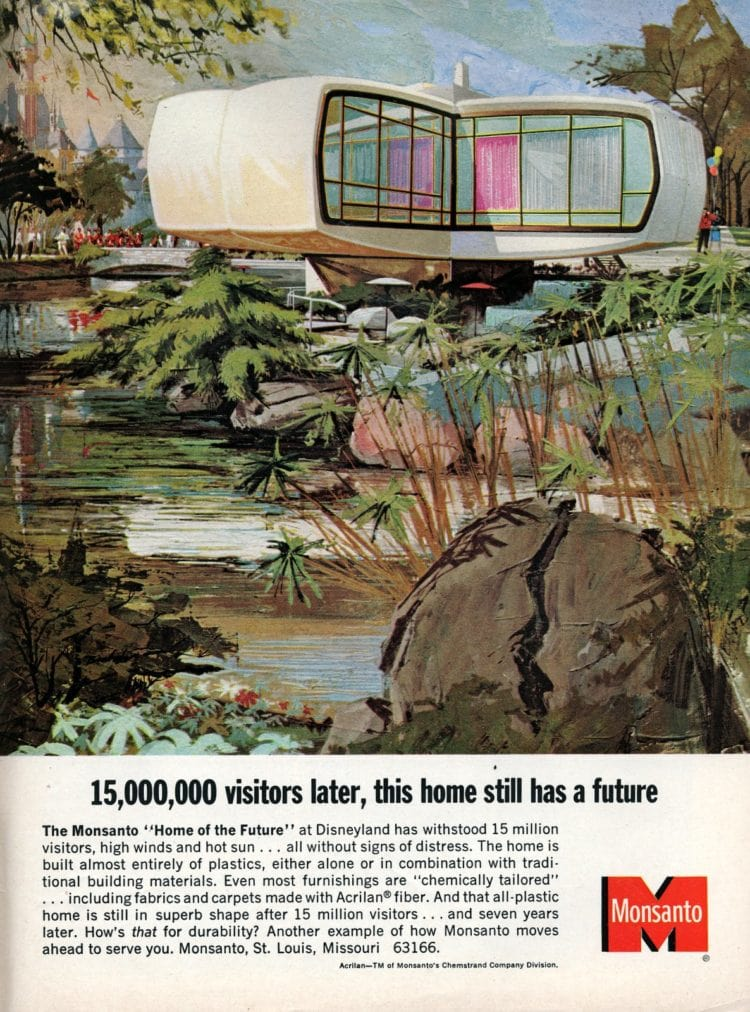 The retro-modern space-age Monsanto's Home of the Future at Disneyland