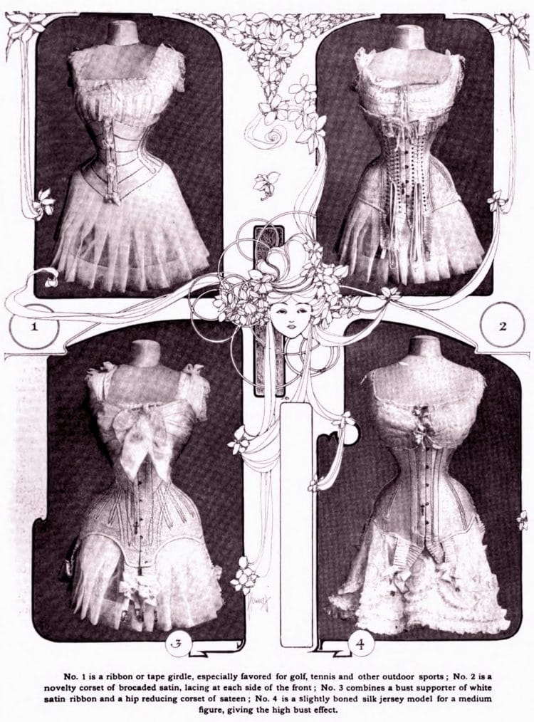 Tight waisted fashionable corsets from 1905