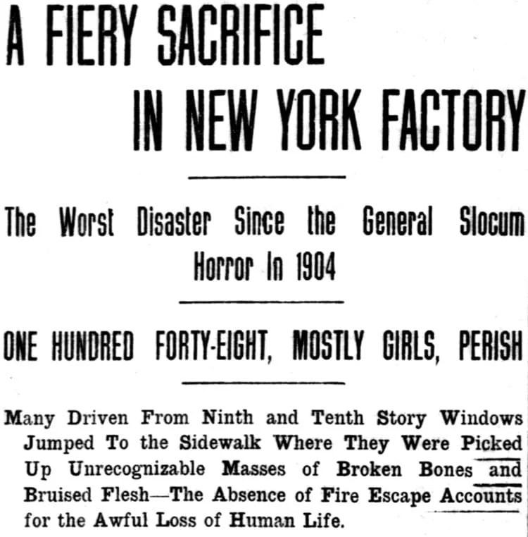Triangle Shirtwaist Factory fire - Arizona Republic newspaper headline - March 26 1911