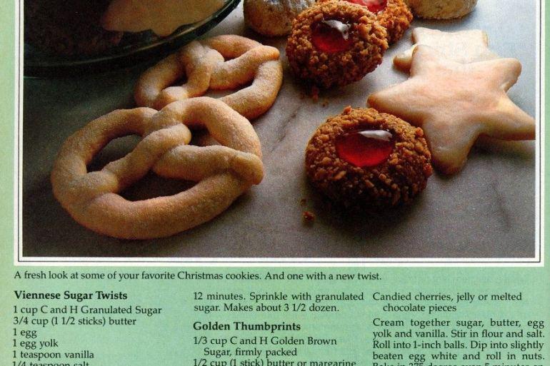 Viennese Sugar Twists Golden Thumbprints-cookies 1981