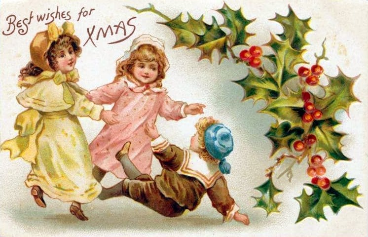 Vintage Christmas postcards - children (2)