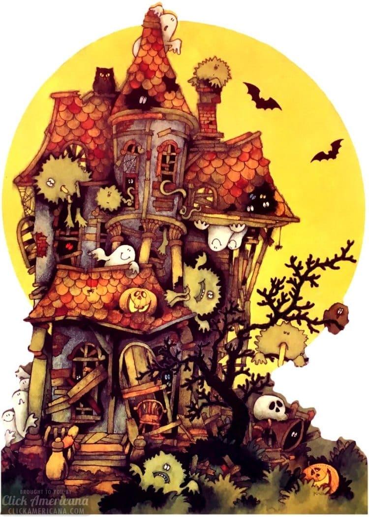 Vintage Halloween card - Haunted house