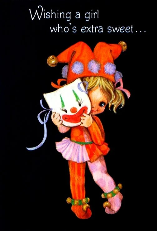 Vintage Halloween card for a girl in the 1970s