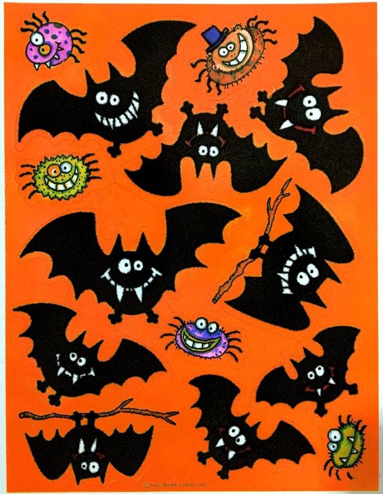 Vintage Halloween sticker sheets - Fuzzy bats