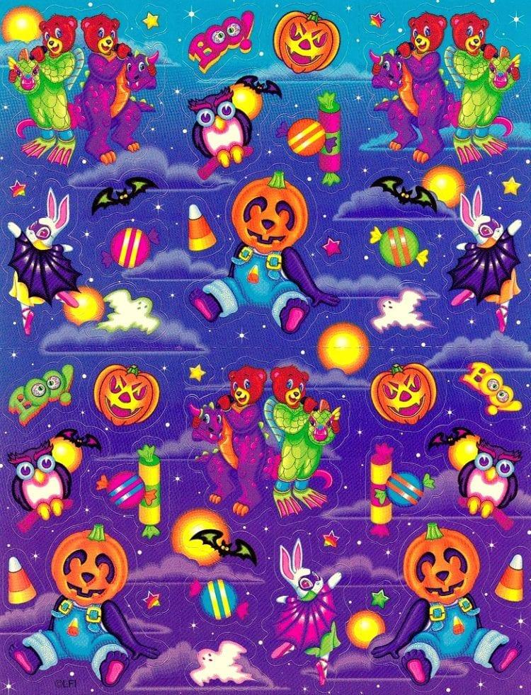 Vintage Halloween sticker sheet - Lisa Frank