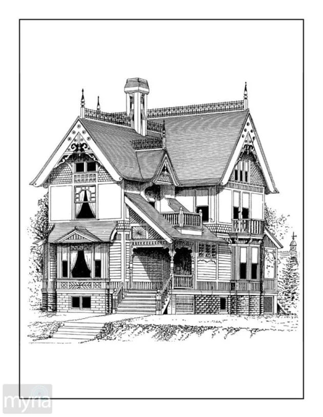 Vintage Homes Adult Coloring Book #3: Beautiful Victorian