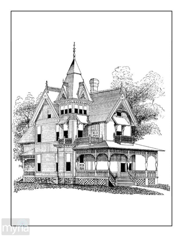 Vintage Homes Adult Coloring Book 3 Beautiful Victorian Houses