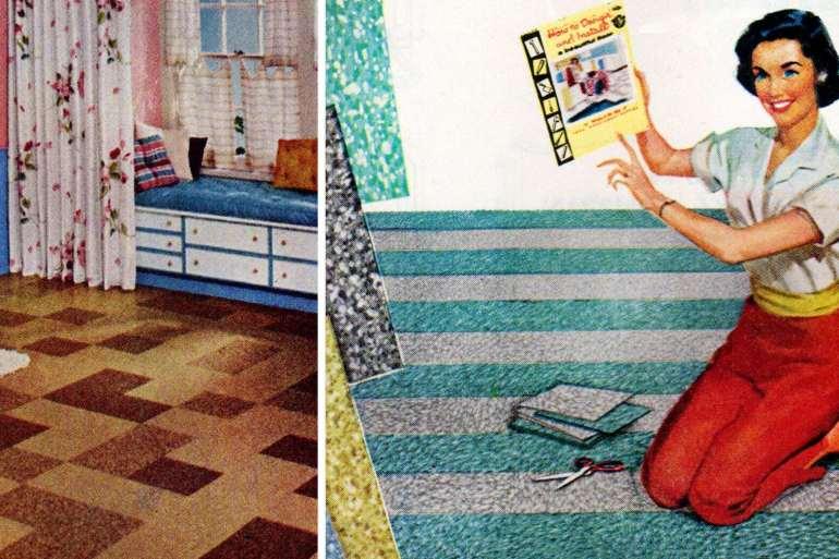 Vintage Terraflex vinyl asbestos tile in terrazzo colors (1957)