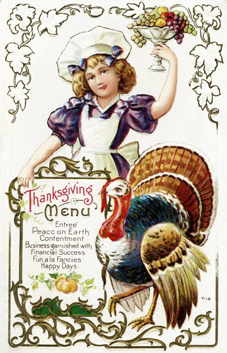 Vintage Thanksgiving postcard - Menu of happiness