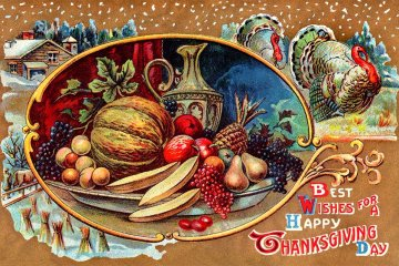 Vintage Thanksgiving postcard - holiday table