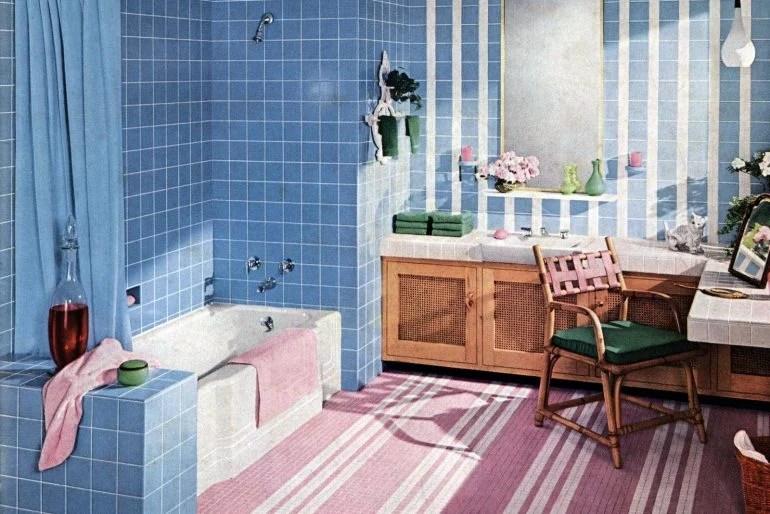 36 vintage 1950s bathroom tile design