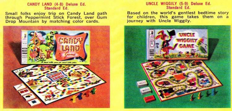 Vintage board games Milton Bradley 1960s - Candy Land Uncle Wiggily