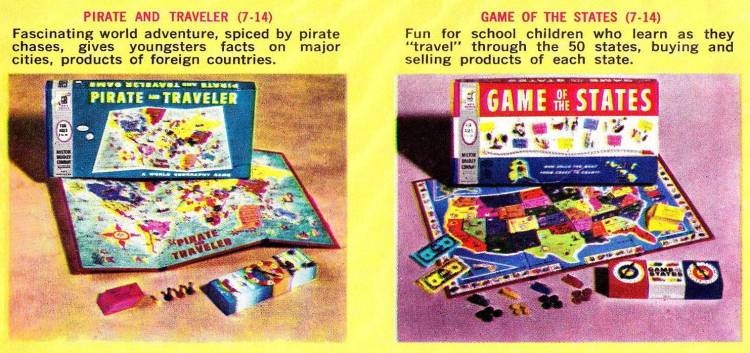 Vintage board games Milton Bradley 1960s - Pirate and Traveler Game of the States