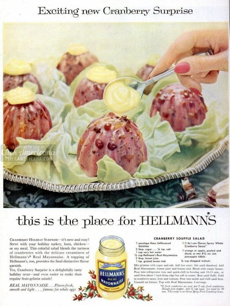 Exciting new cranberry surprise - souffle salad with mayo (1958)