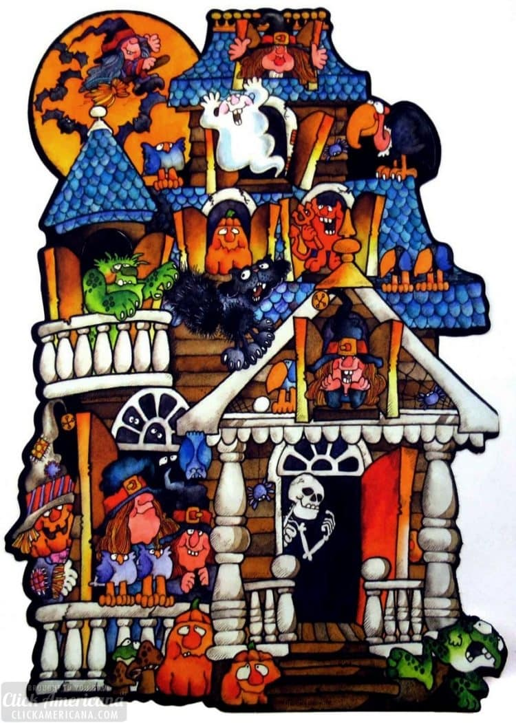 Vintage haunted house with monsters ghosts and skeletons from the 1980s