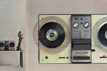 Vintage reel-to-reel tape recorders and players