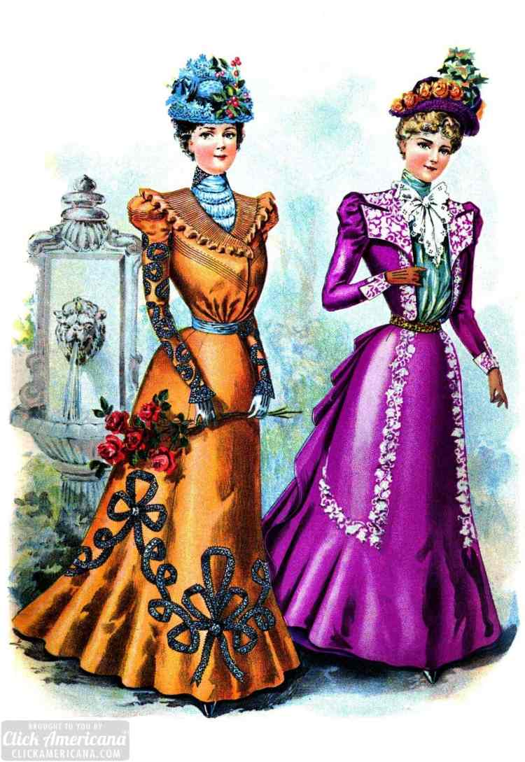 Visiting toilettes - dresses in bright colors from 1898