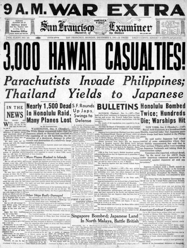 WWII Headlines - Japanese bomb Pearl Harbor in Hawaii - San Francisco Examiner Mon Dec 8 1941